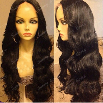 28inch 100% handmade brazilian lace wig natural black color body wave full lace wig for sale