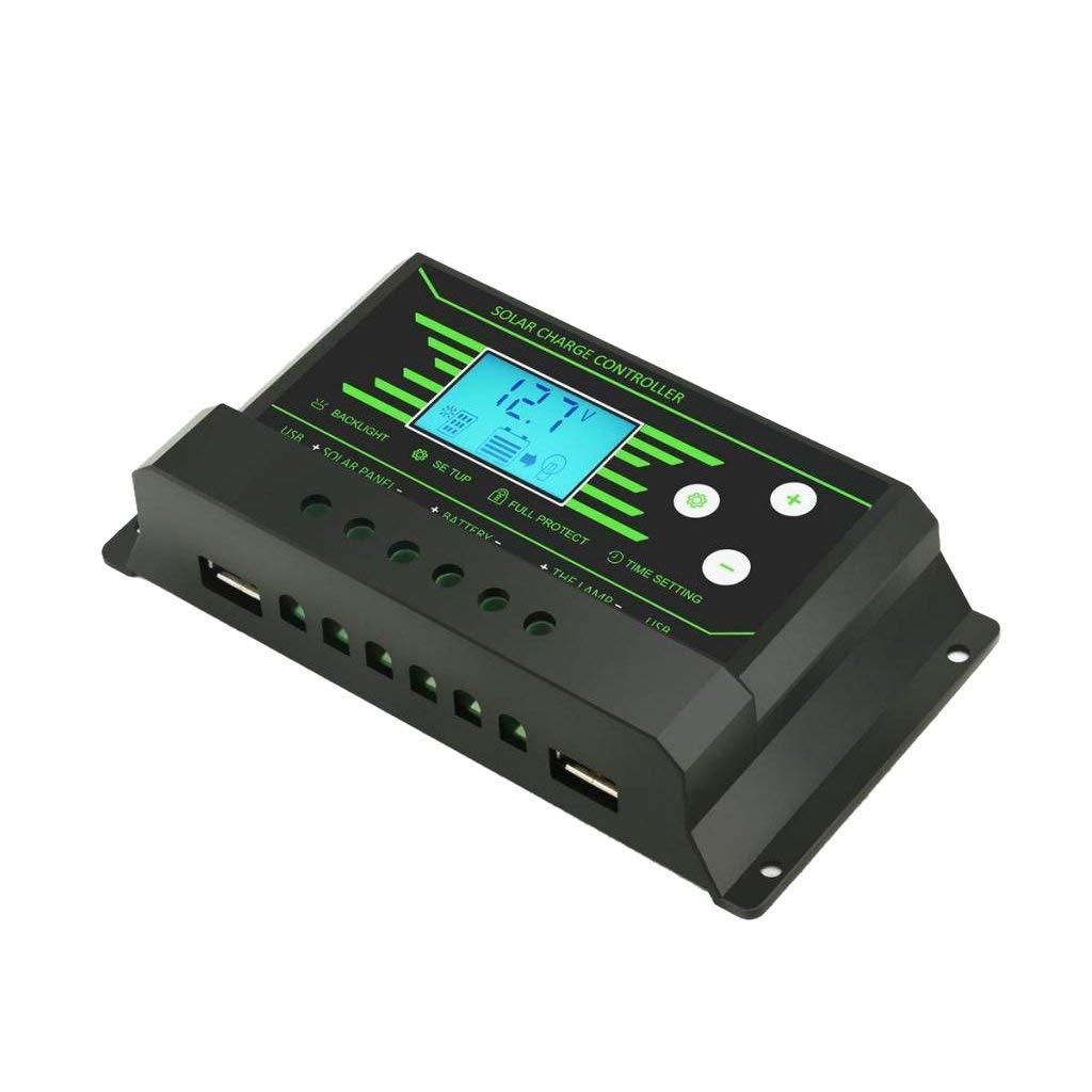 MonkeyJack PWM Solar Panel Battery Intelligent Regulator 12V/24V Auto USB LCD Display - 10A