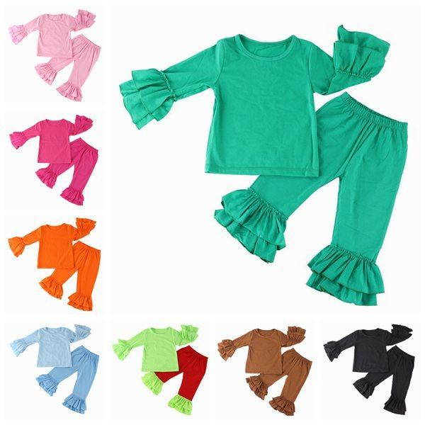 baby clothing sets kids long sleeve tops t shirts + ruffle pants girls boutique outfits children spring autumn cotton clothes