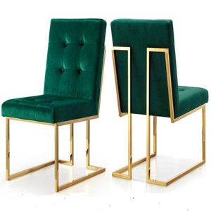Gold plating emerald green velvet dining chair