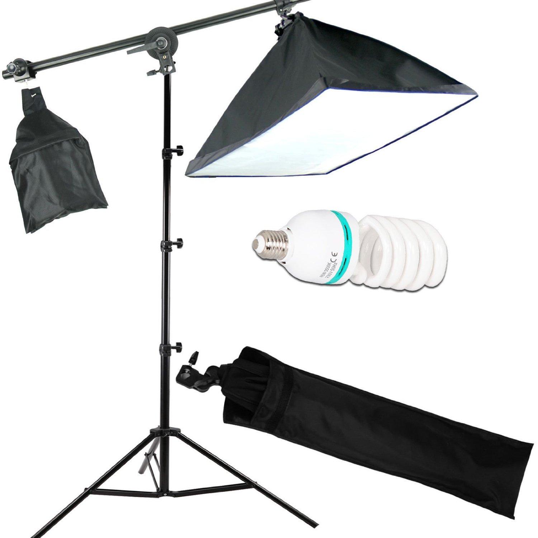Abeststudio Continuous Lighting Kit 50x70cm Softbox Boom Arm Soft Box Photo Studio Set Light 135W 5500K Bulbs Lamp Photography Big Softboxes US Plug