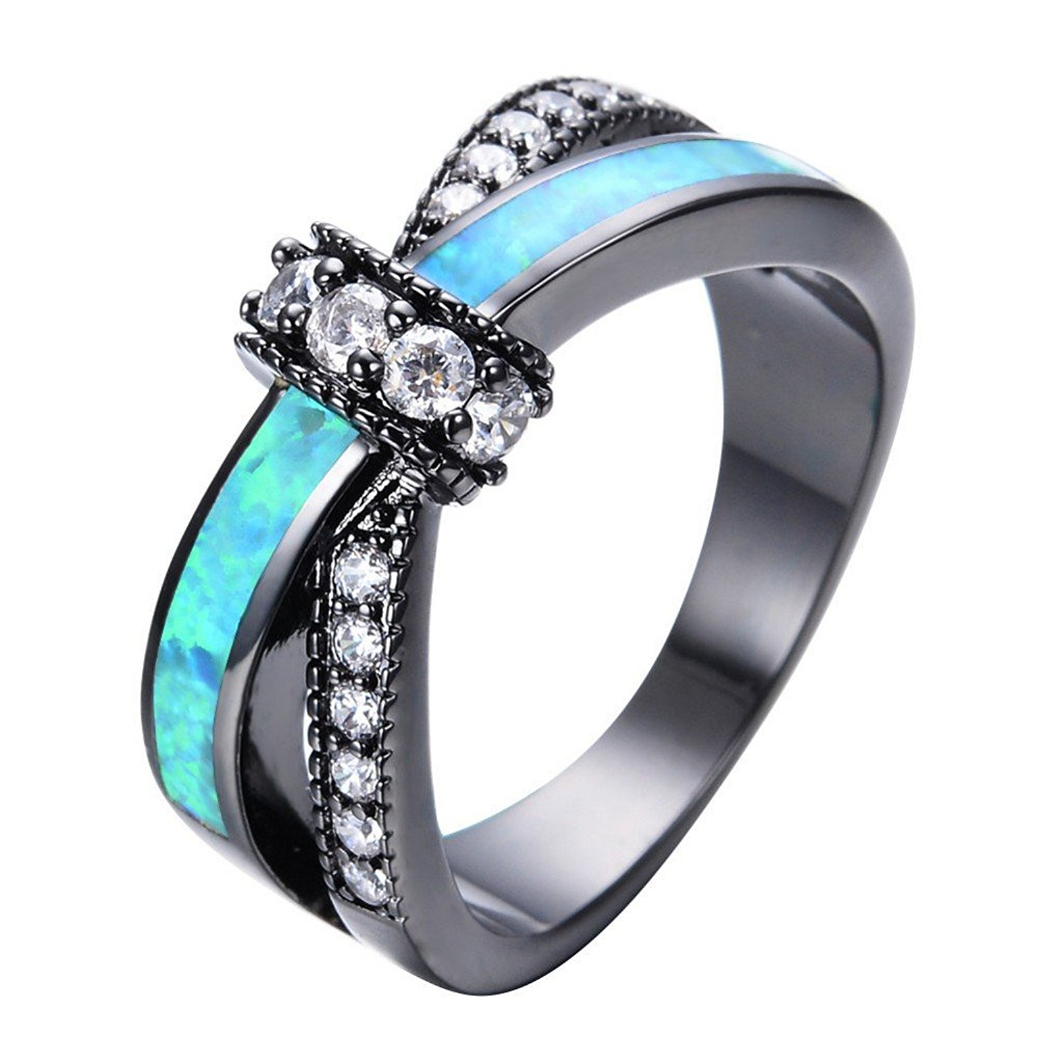PSRINGS Unique Jewelry Blue Fire Opal Rings Male Black Gold Filled Crossed Shape Wedding Party Zircon Promise Ring