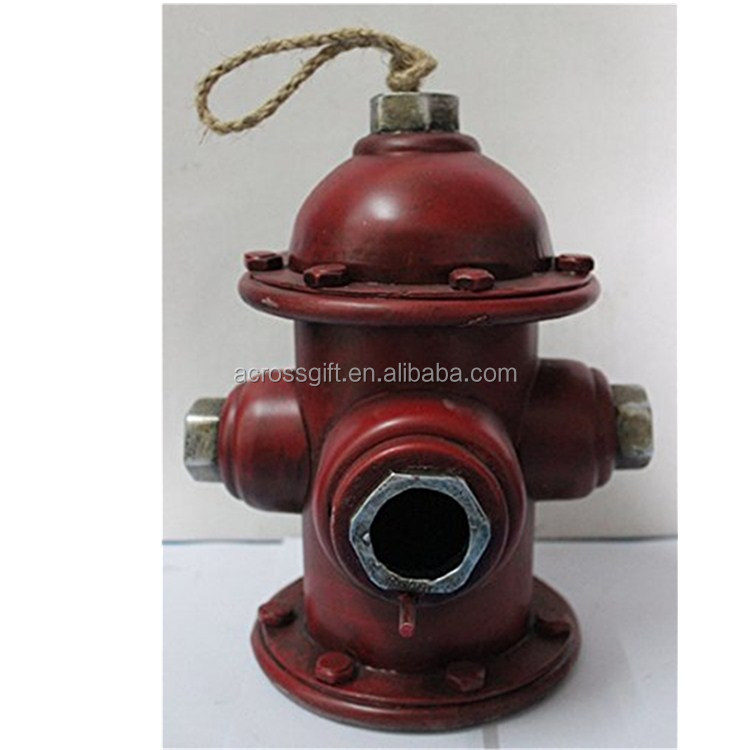 polyresin/resin Hanging Decorative Birdhouse Fire Hydrant Statue Garden Decor
