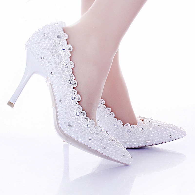 Buy 2015 White Pearl Wedding Shoes For Bride Lace Flower Pointed Toe Sexy  Stiletto Heel Women Prom Party Shoes Women Shoes Pumps in Cheap Price on ... 838b9720ca