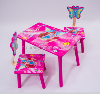 Durable High Quality Wooden Student Study Table And Chair Two Chair Lovely  Pink Study Table And