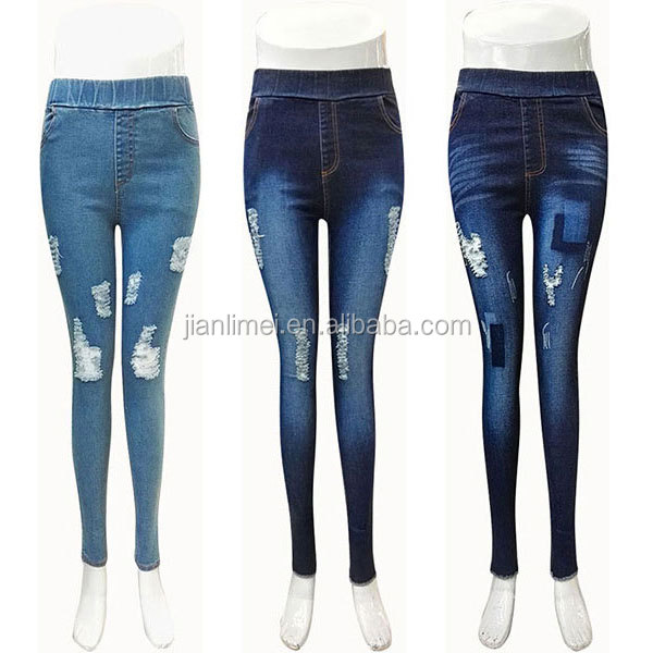 high stretch washed women skinny denim jeans