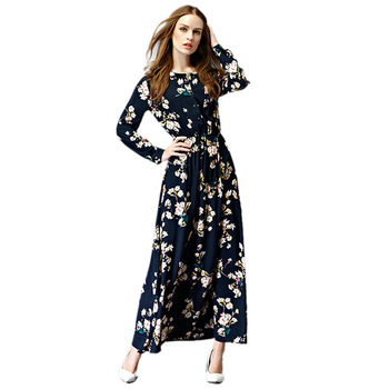 Z92674A 2017 New Style Abaya Long Sleeve Maxi Kaftan Muslim Dress For Islamic Women Plus Size Muslimah Clothing