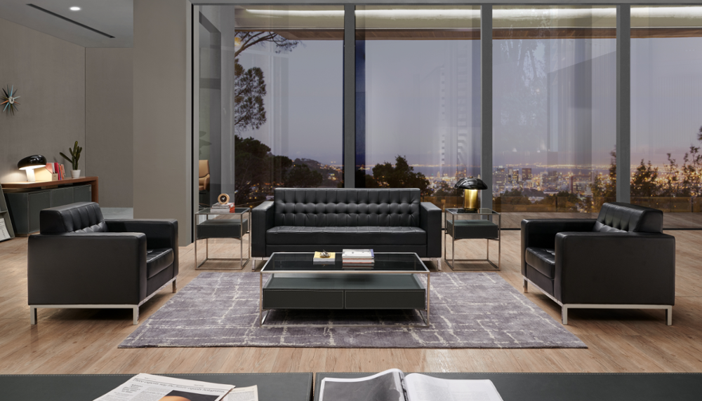 sectional leather office sofa