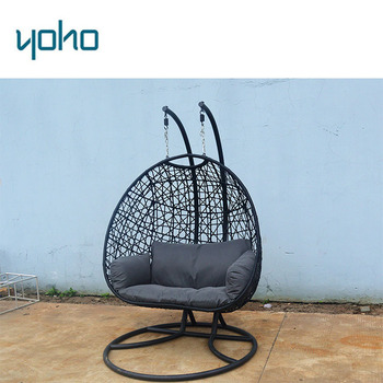 Garden Rattan Patio Wicker Egg Nest Shaped 2 Persons Seater Hammock Hanging  Swing Egg Chair