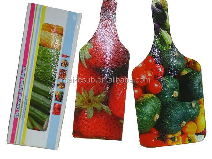 Bottle shape tempered glass cutting board for sublimation printing