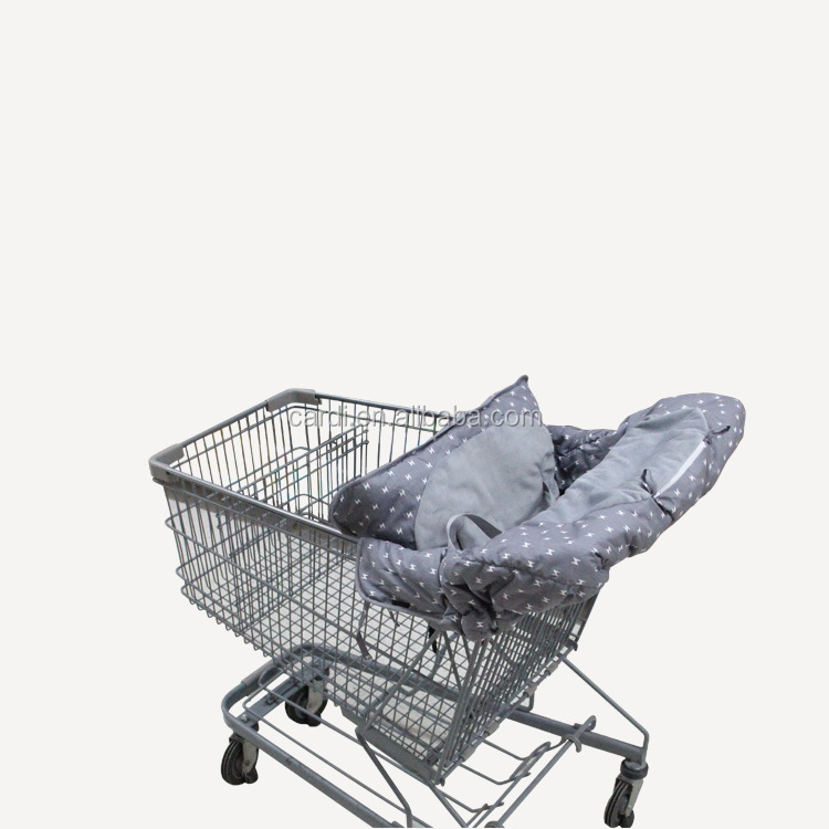 grey lightning splicing and plush supermarket use easy one-hand installation shopping cart cover and highchair cover for baby