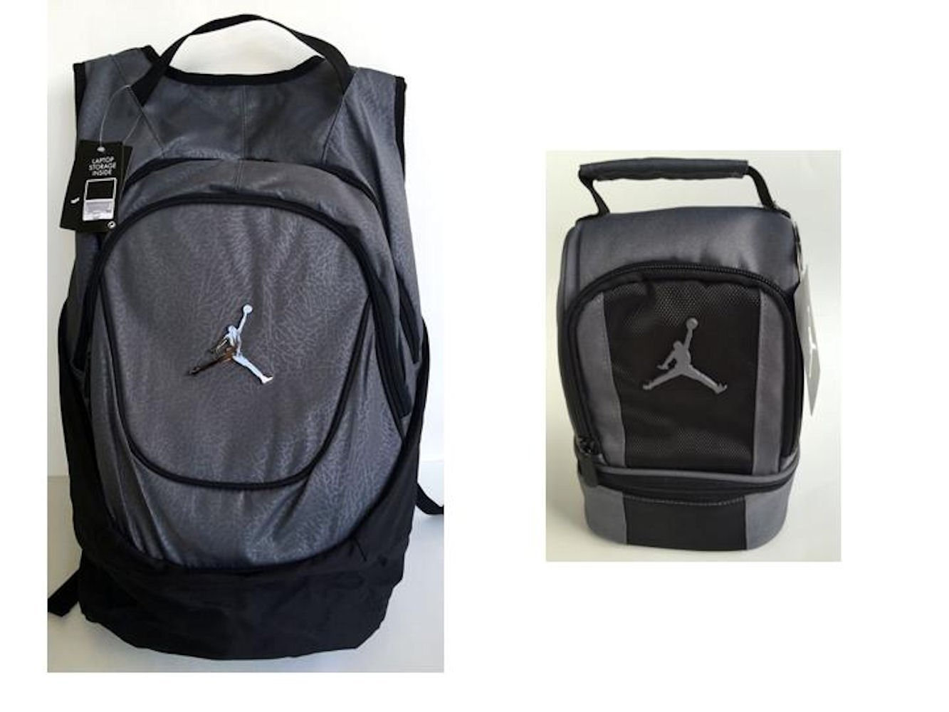 59406baeeab6ed Nike Air Jordan Jumpman 23 Gray Backpack and Lunch Tote Bag + FREE Cell  Phone Anti