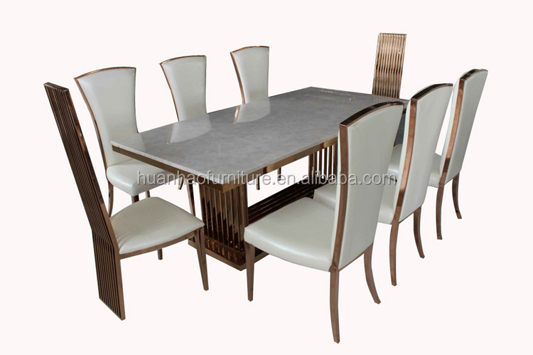 luxury long narrow marble top dining table for big family 8 seater DH-1602