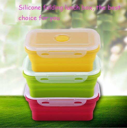Customize Size Eco-Friendly Portable Household Silicone Microwavable Safe Heated Folding Travel Collapsible Multilayer Lunch Box