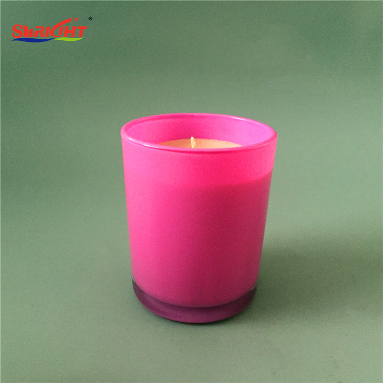 Pink Inner Spray Colored Vanilla Aromatherapy Glass Jar Candle