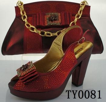 Wine Shoe And Handbag Sets Nigeria Las Bag African Fabric Shoes