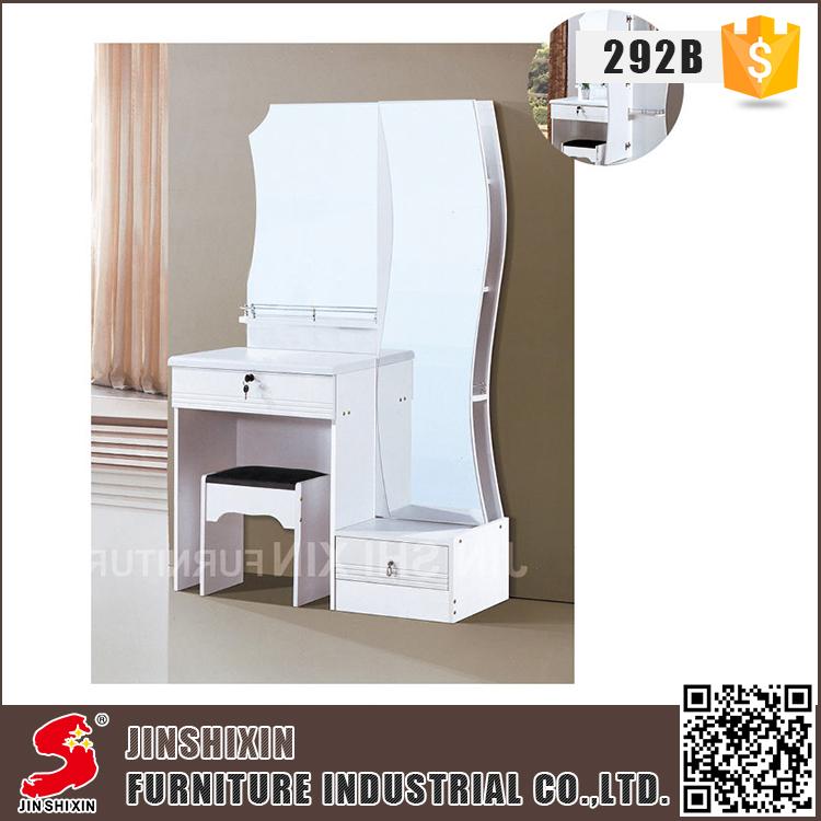 En gros blanc couleur PVC surface mdf coiffeuse en bois avec miroir pleine  longueur