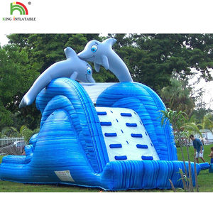 Ocean theme inflatable shark water slide inflatable dry slide with climbing stairs