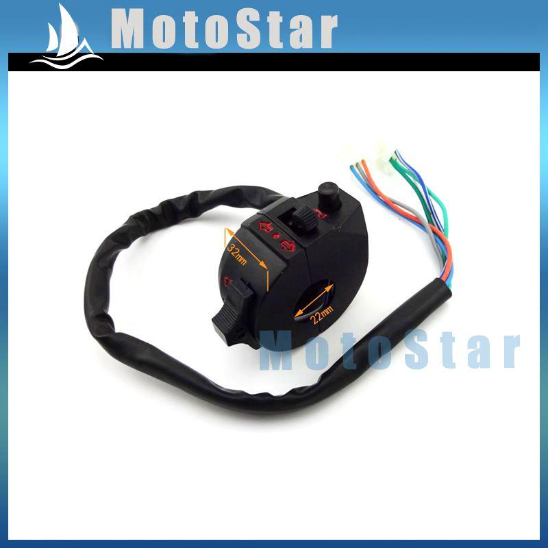 Сплав левый ATV ручка управления ассамблеи с индикаторы рог привет-ближнего головного света 7 провод 3 Fuction для 4 уилер