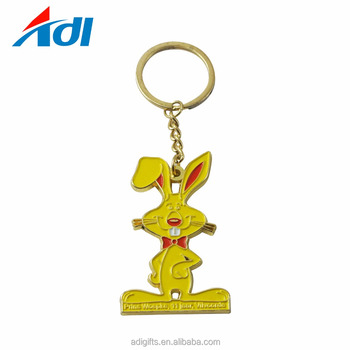 Free design service cheap customized metal animal soft enamel rabbit shape metal keychains for sale