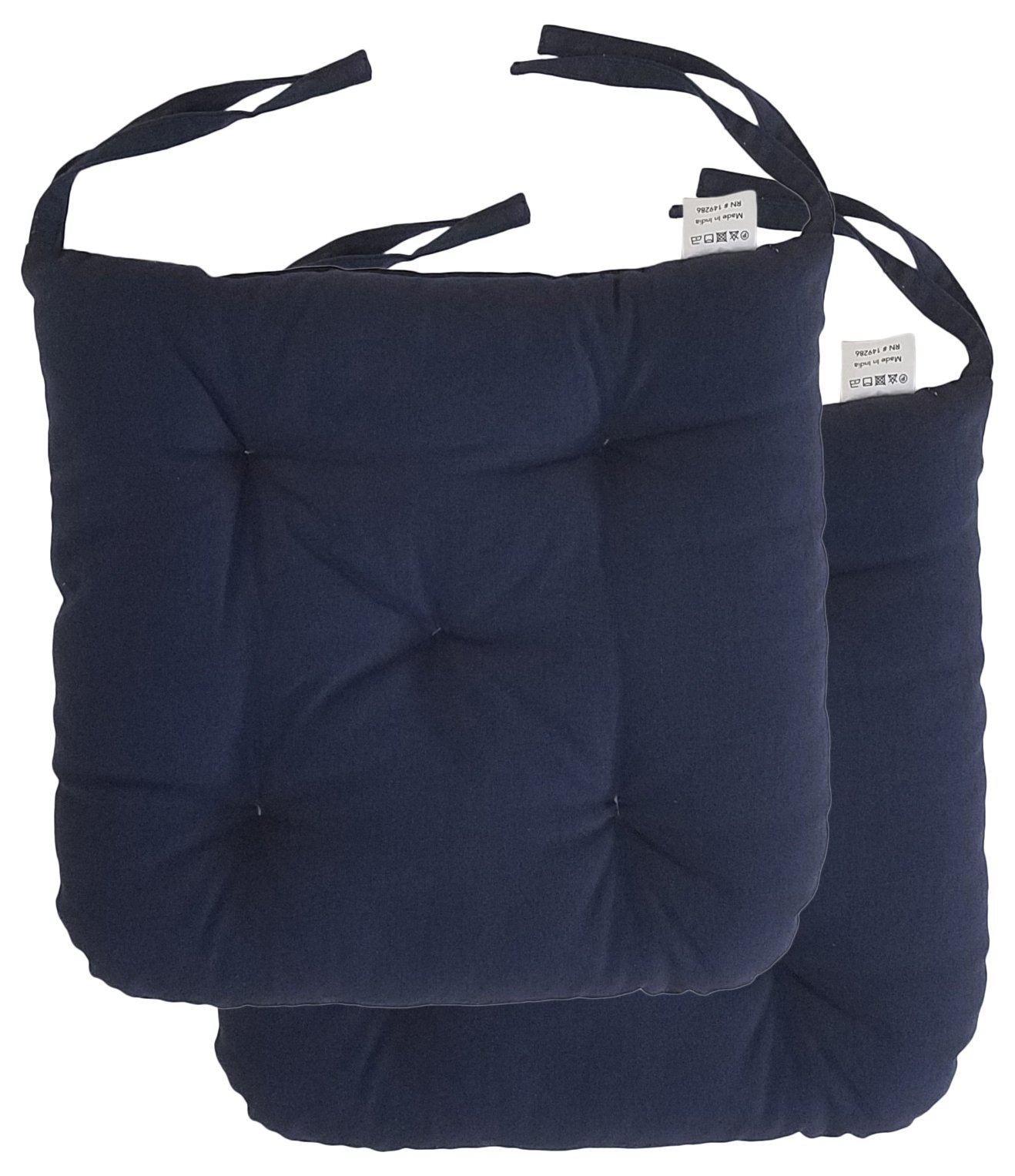 """Cottone 100% Cotton Chair Pads w/ Ties (Set of 2)   16"""" x 15"""" Round Square   Extra-Comfortable & Soft Seat Cushion   Ergonomic Pillows for Rocking, Dining, Patio, Camping, Kitchen Chairs & More (Navy)"""