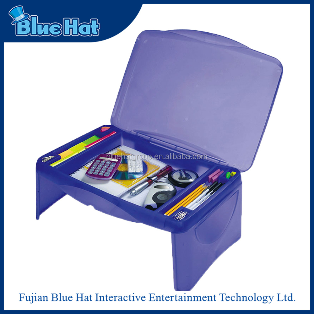 high quality plastic compartment storage folding lap desk for kids