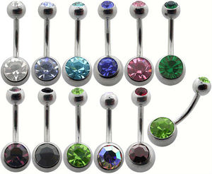 "Double Gem Belly Button Rings 14G Gauge 3/8"" Body Jewelry"