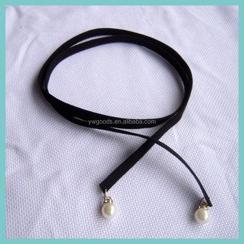 1f41a89d364c Varios estilo simple de cuero negro o cuello de la cinta gargantilla collar  con perla colgante