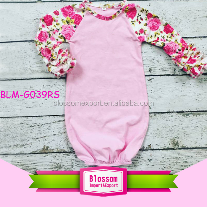 Latest Design Newborn Blank Baby Night Gown Floral Long Raglan ...