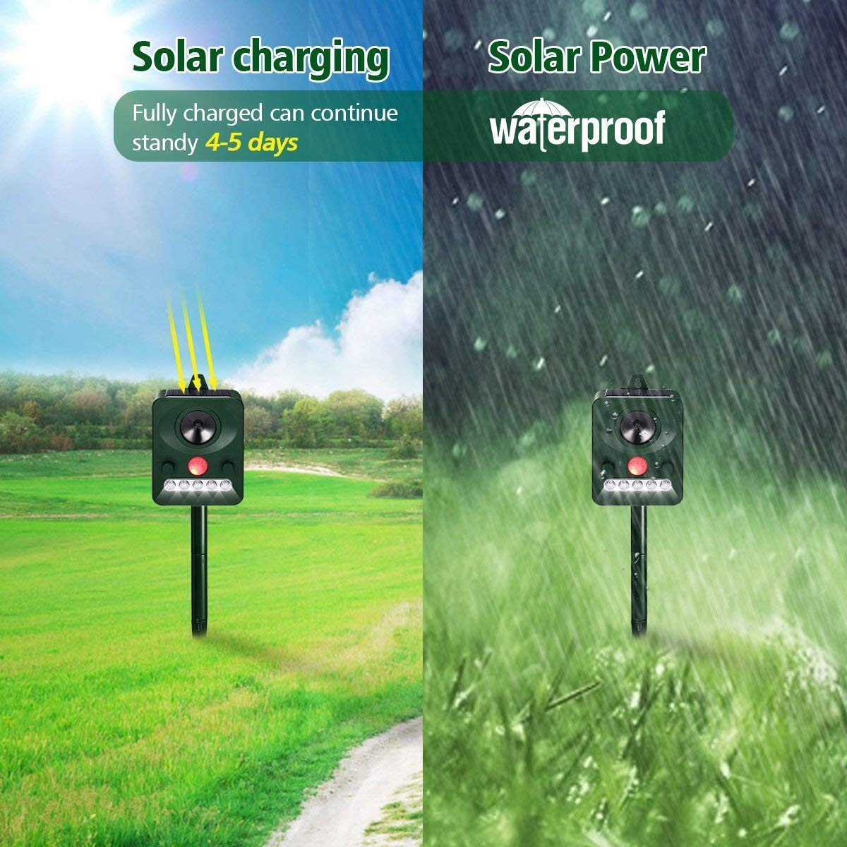 Outdoor Waterproof Solar Powered Ultrasonic Animal Repeller with PIR Sensor Protect Your Yard Lawn Garden