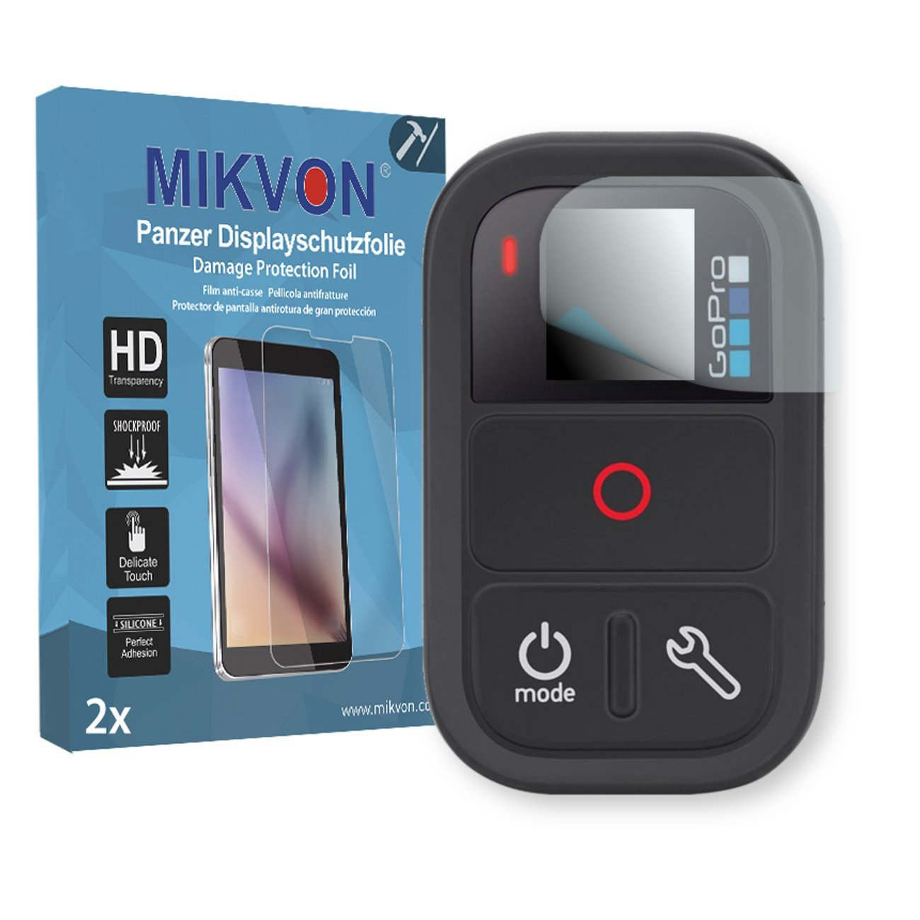 MIKVON 2X Armor Screen Protector for GoPro Remote Screen Fracture Protection Film - Retail Package with Accessories
