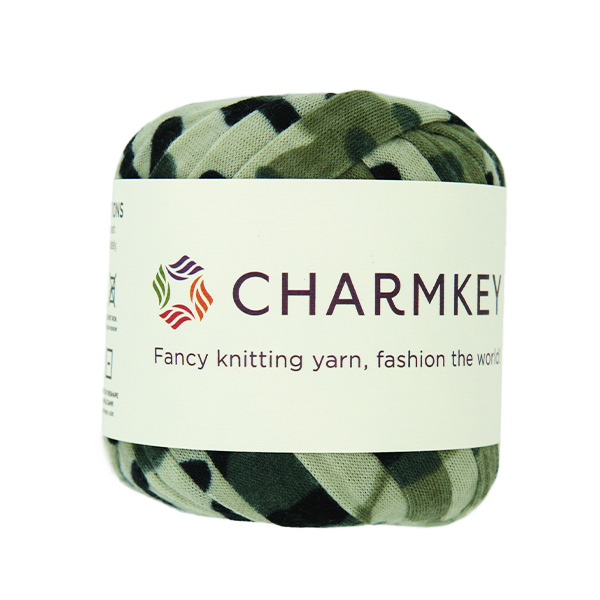 Charmkey 100% polyester camouflage knitting t-shirt yarn for fancy knitting free samples