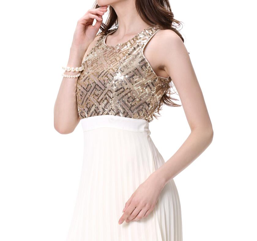Mode Ronde Hals Goud Vrouwen Lange Prom Dress