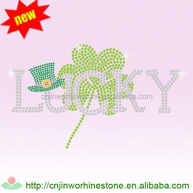 private design 2017 hot sale rhinestone template material low price Saint Patrick's Day 58