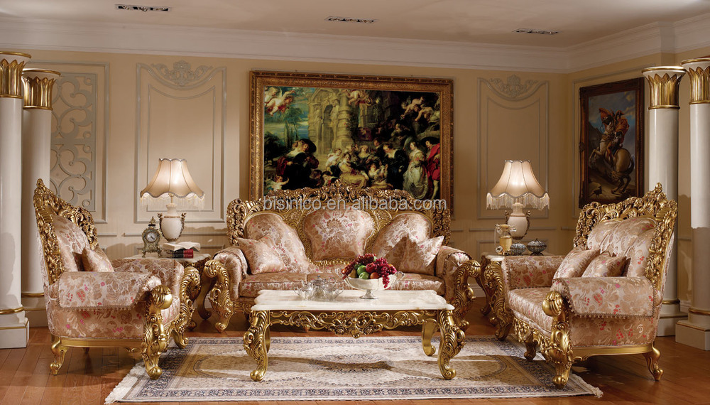 Noble palace design solid wood carved sofa set luxury gold painted chesterfield sofa victoria - Add luxurious look home royal sofa living room ...