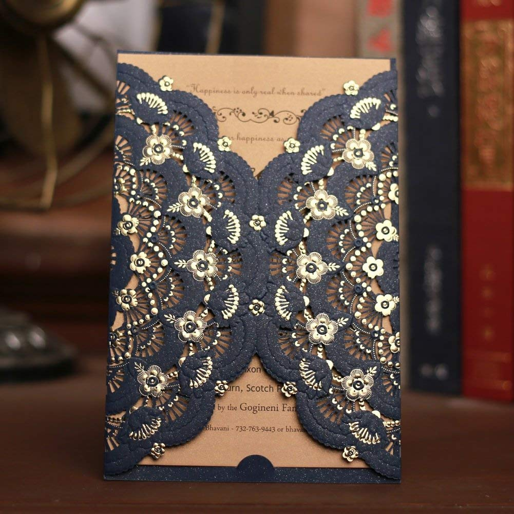 FOMTOR Navy Blue Laser Cut Wedding Invitations 50 Packs Luxury Laser Wedding Invitation Card Kits with Blank Printable Cards and Envelopes for Wedding,Birthday Parties,Baby Shower