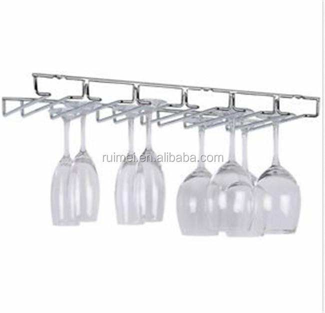 Under Cabinet Kitchen Organizer Home Chrome Bar Rack Hanging Wine