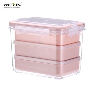 Metis Lunch Box Microwavable heated Meal Prep Containers 3 parts Plastic Divided Food Storage Container Boxes for Kids Adult