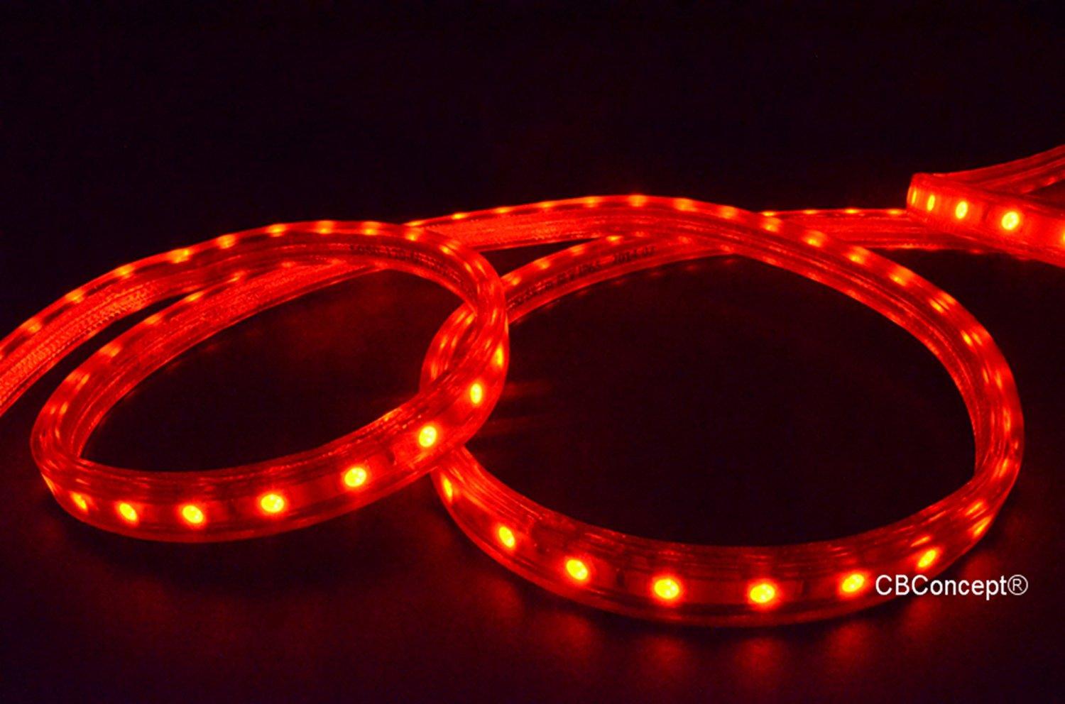 CBConcept® UL Listed, 18 Feet, Super Bright 5400 Lumen, RED, Dimmable, 110-120V AC Flexible Flat LED Strip Rope Light, Waterproof IP65, Accessories Included, [Christmas Lighting, Indoor / Outdoor Rope Lighting, Ceiling Light, Kitchen Lighting] [Ready to use]