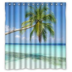 """66""""(w) x 72""""(h) Sandy Tropical Paradise Beach with Palm Trees and the Sea Ocean Theme Painting 100% Polyester Bathroom Shower Curtain Shower Rings Included"""