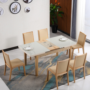 Modern Round Extendable Glass Dining Table Wood In Malaysia