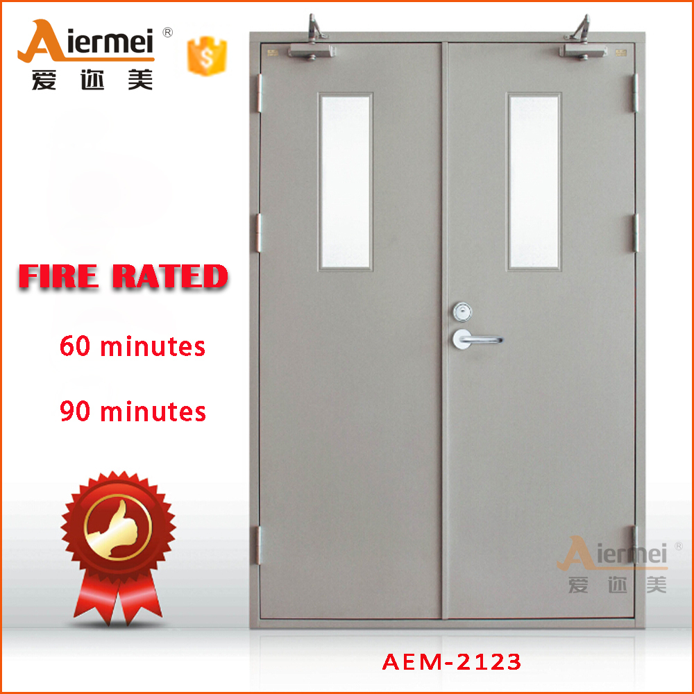 1 hour fire rated with glass double door hotel emergency for 1 hr rated door
