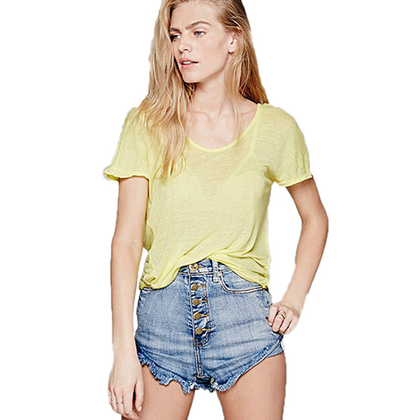 2015 New Fashion Women Casual Backless T-Shirt Sexy Tees Short Sleeve V-Neck Tops Summer Loose 4 Colors Tops OR659291