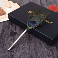 Tím Đà Điểu Con Công Feather Quill Fountain Pen Set