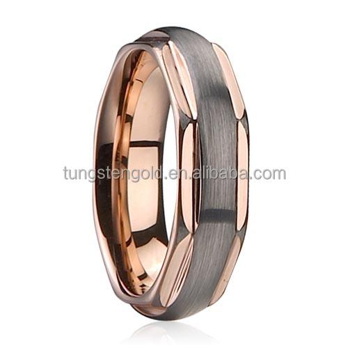 rose gold tungsten ring men firefighter wedding bands - Firefighter Wedding Rings