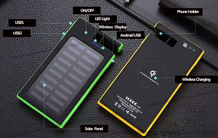 Ce Rohs Fcc Portable Fast Charging Powerbank Charger  Pad 10000 Mah Power Banks Waterproof Qi Wireless Solar Power Bank 10000mah