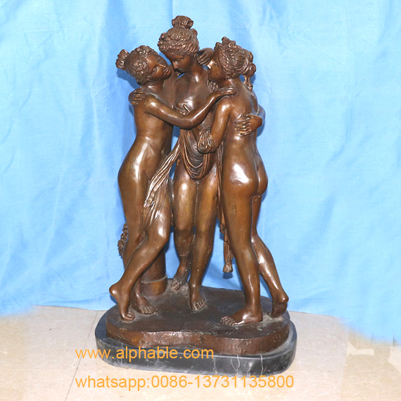 Greek Nude Woman Bronze Sculpture Three Graces Statue