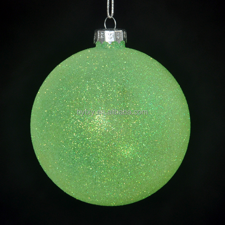 China Suppliers Hanging Christmas Green Glass Baubles