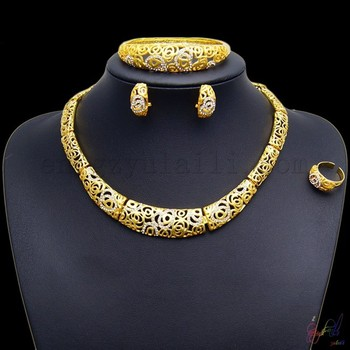 24k Gold Plated Necklace Design Jewelry Indian Fashion Big Bridal