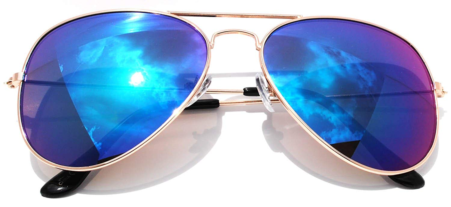 508793a6bc4 Classic Aviator Sunglasses Full Mirror Lens Metal Gold Color Frame Blue Lens